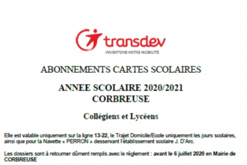 CARTES SCOLAIRES TRANSPORTS 2020/2021